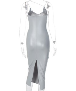 VZ200575 SR1 4 Trendy Silver Irregular Strap Zipper Leather Bodycon Dress Visual Effect
