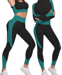 YD200133 GN2 4 Activewear 3 Pcs Sports Suit Solid Color Ankle Length Fashion