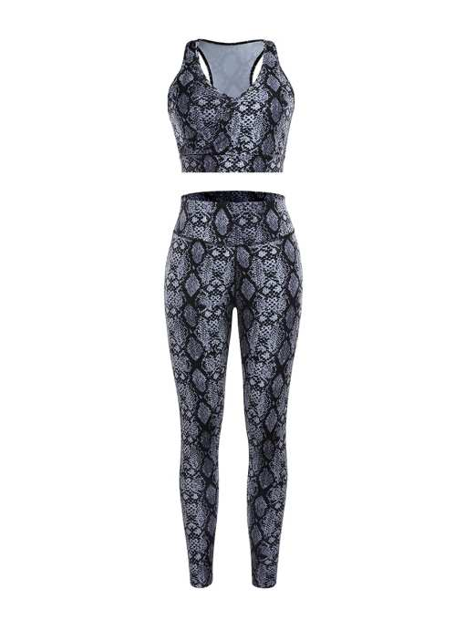 YD200164 GY1 3 Chic Gray Snake Pattern High Rise Racerback Sweat Suit For Workout