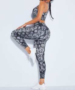 YD200164 GY1 5 Chic Gray Snake Pattern High Rise Racerback Sweat Suit For Workout