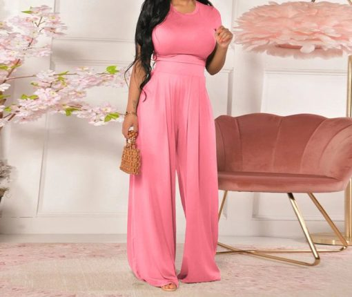 pink 2 Piece Solid Top and Pant Set
