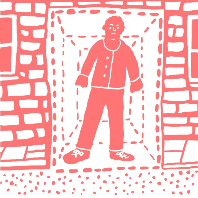 A figure standing in a doorway, framed by dotted-line boxes that gradually get smaller around them