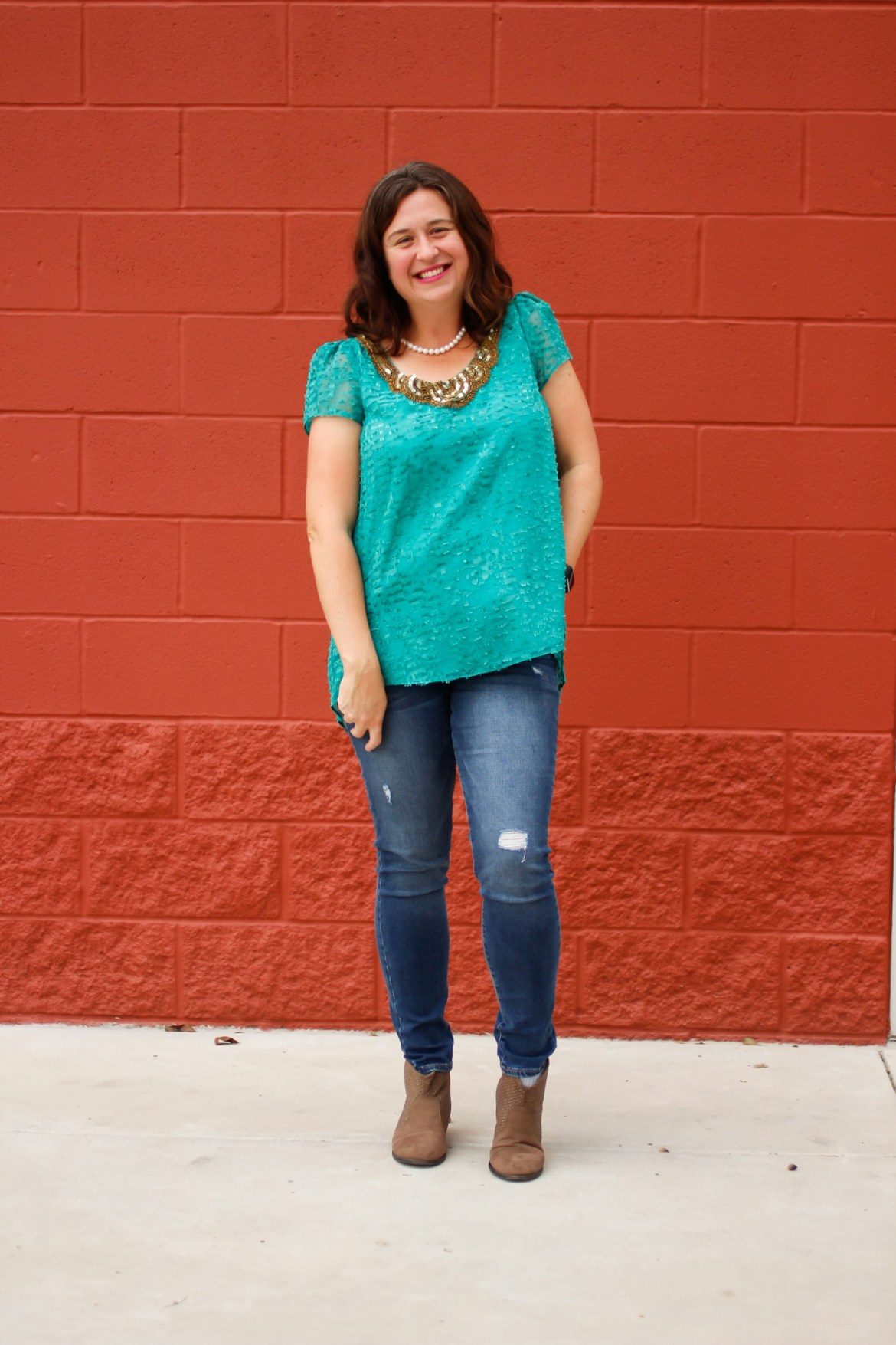 So love the colors together in this look.  The neckline on the shirt is neat, too