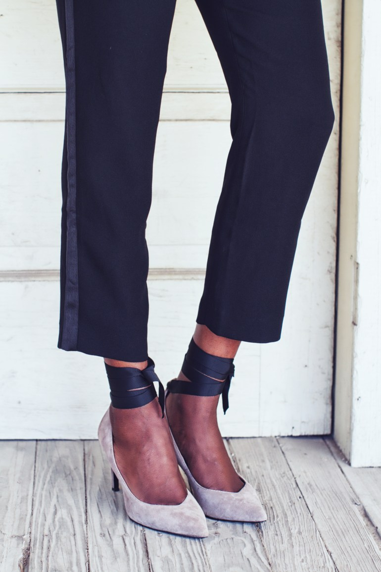 These shoes are lovely with the ribbons. Paired with the tuxedo style pants is so chic