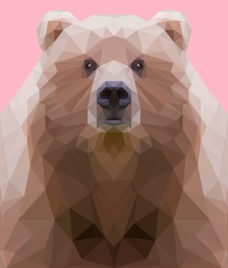 low poly bear on pink background