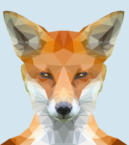 cute low poly fox on bluegrey-background
