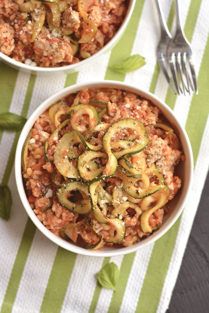 Low Calorie Italian Casserole made with zucchini, brown rice and artichokes is an easy, make ahead freezer casserole. A nourishing, healthy dinner that's filling & bursting with Italian flavorings. Gluten Free + Low Calorie