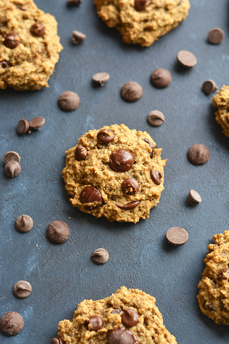 Skinny Chocolate Chip Cookies made lighter & nutritionally balanced, yet just as scrumptiously chewy &delicious as the original recipe. Perfect for healthy snacking! Vegan + Gluten Free + Low Calorie
