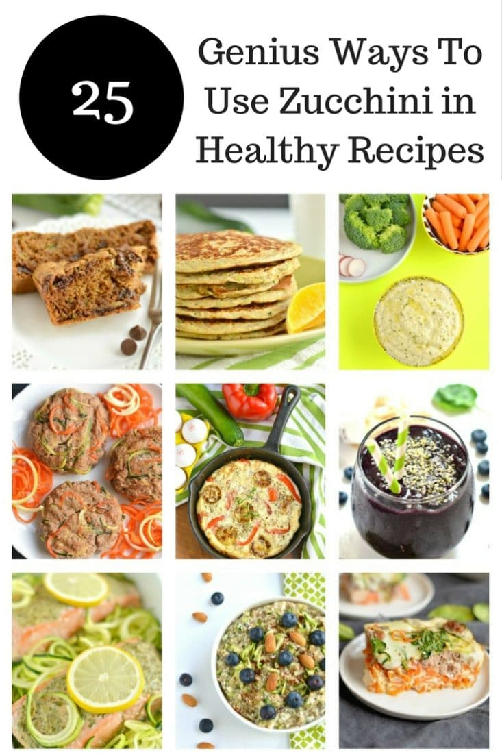 These are 25 Genius Ways To Use Zucchini in Healthy Recipes to inspire you to eat and cook healthy! All the recipes are gluten free, some Paleo & low carb!