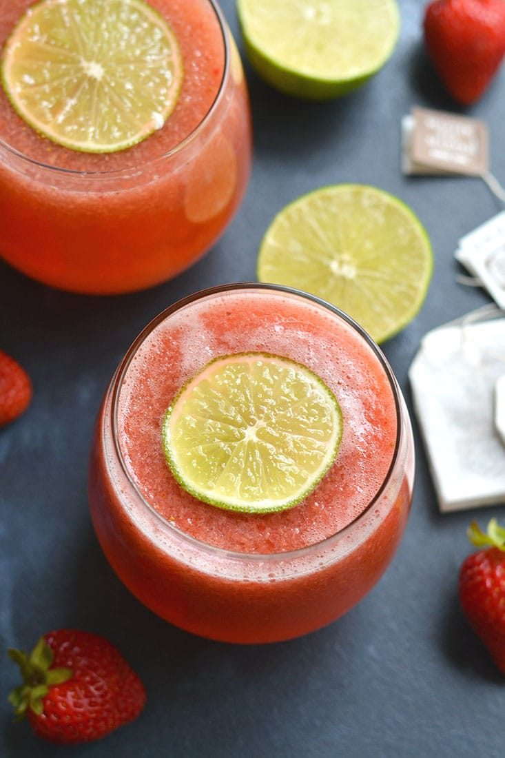 Boost your health with an antioxidant & Vitamin C rich Strawberry Green Tea! This fruit sweetened tea is cool, refreshing, and nourishing. Perfect for a hot day. Vegan + Paleo + Gluten Free + Low Calorie