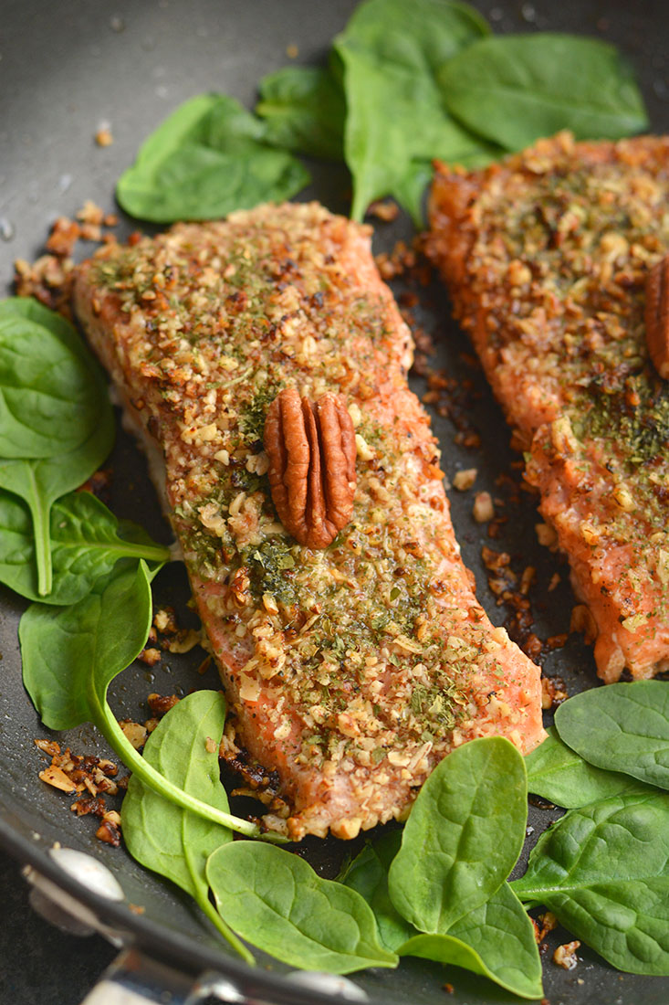 Pecan Oat Salmon!Salmon breaded in a pecan-oat-parsley mixture &sautéedin one pan. An easy dinner, ready in 20 minutes & packedwith nutrients! Gluten Free + Low Calorie