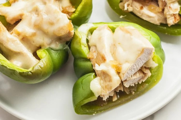 This low carb Stuffed Philly Chicken Pepper recipe places a healthy spin on a traditional philly cheesesteak