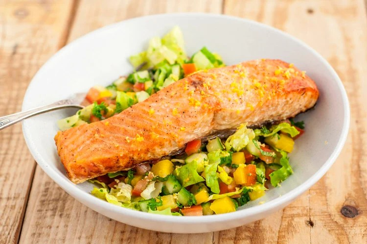 Mediterranean chopped salad with salmon, cucumber and mint