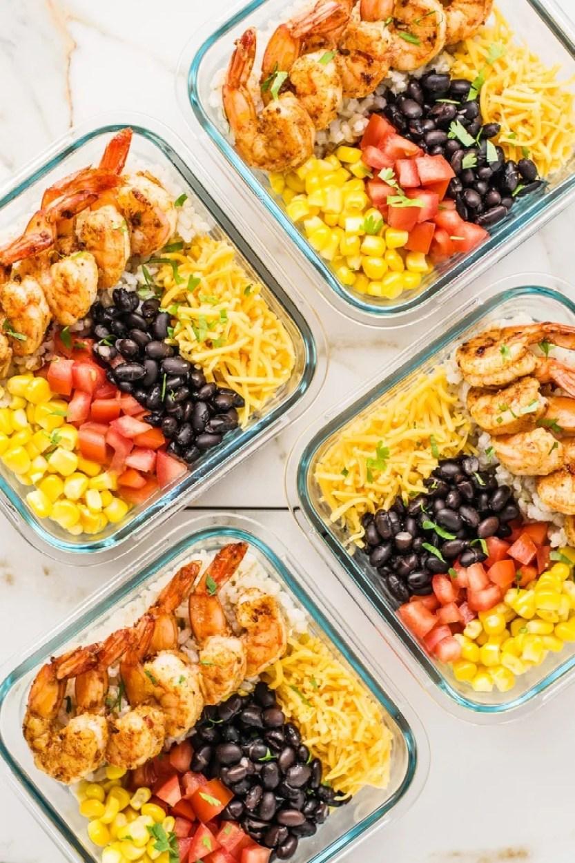 Easy meal prep shrimp taco bowls