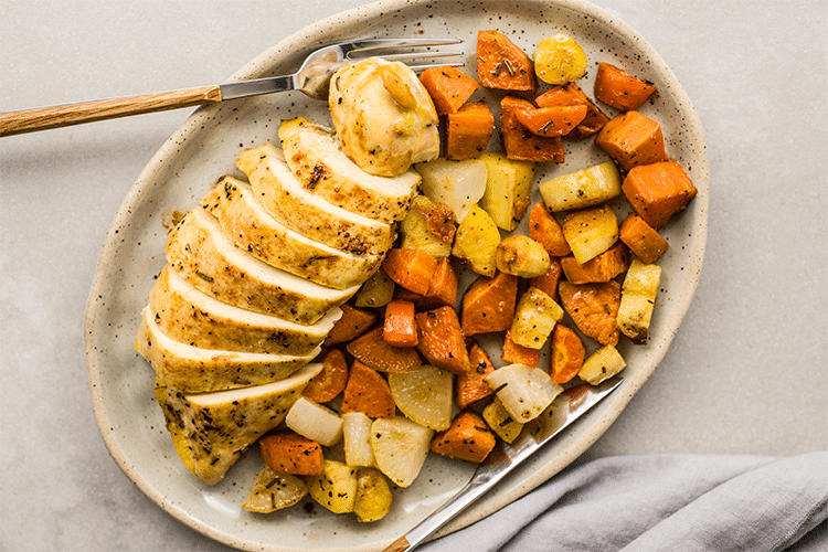 This One-Pan Rosemary Chicken and Root Vegetables makes clean up easy