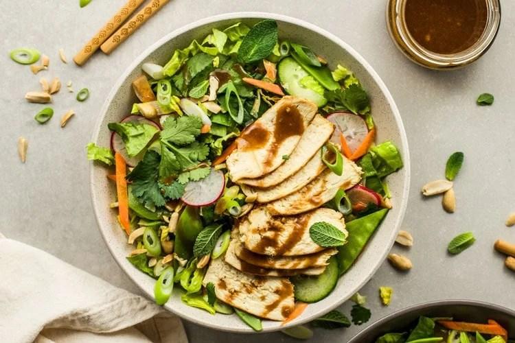 Thai Chicken Veggie Salad with Peanut Dressing