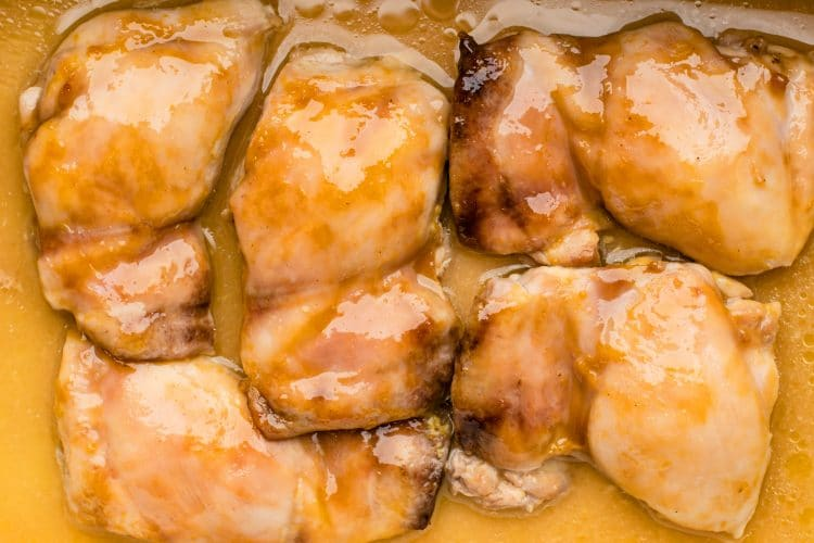 These maple mustard chicken thighs are an easy and affordable dinner.
