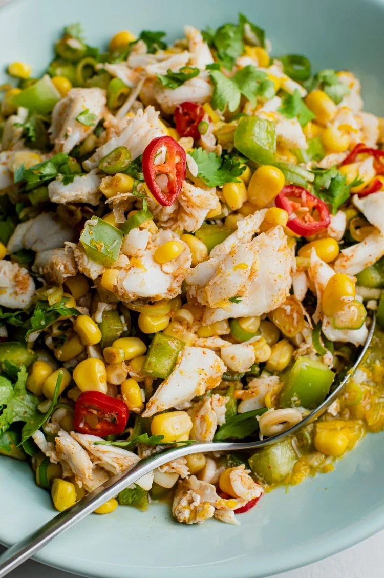 Soak in this delicious crab and corn salad the next warm afternoon!