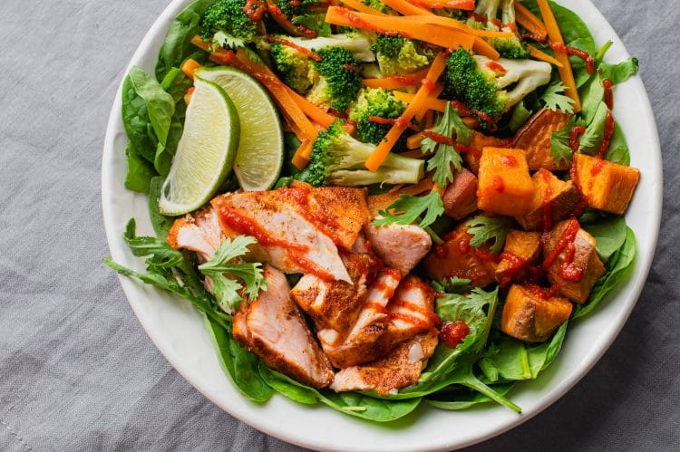 This Sriracha Salmon Power Bowl is great for lunch or dinner!