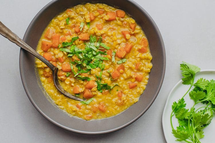 Our high-protein slow cooker sweet potato and lentil curry is packed with vital nutrients, making it an excellent, healthy option for dinner!