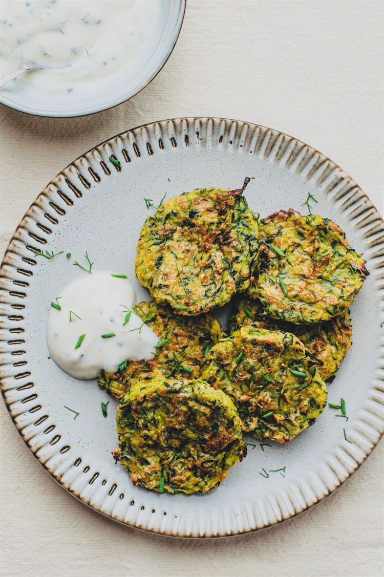These zucchini fritters are delicious but the vegan sour cream elevates this recipe to the next level!