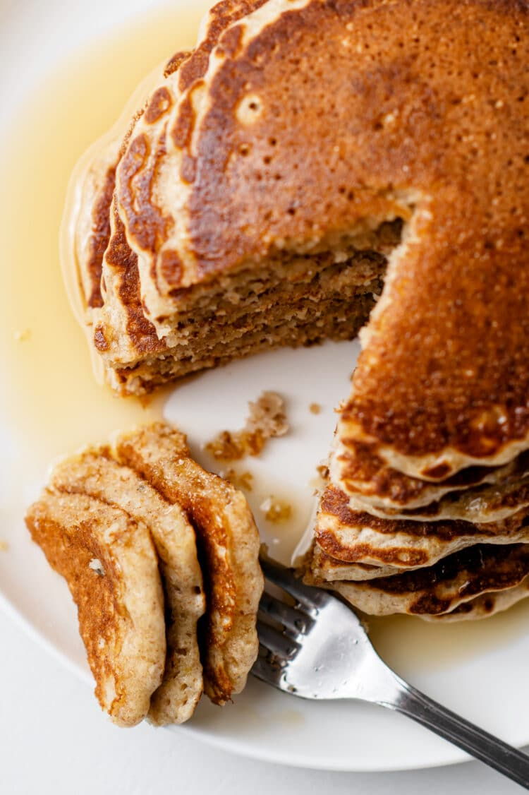 Serve grandma's old-fashioned pancakes the traditional way with maple syrup or a variety of other yummy toppings!