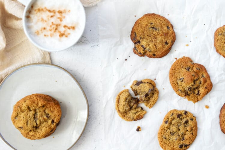 We used dark chocolate for a sweet and satisfying chocolate chip cookie with less sugar.