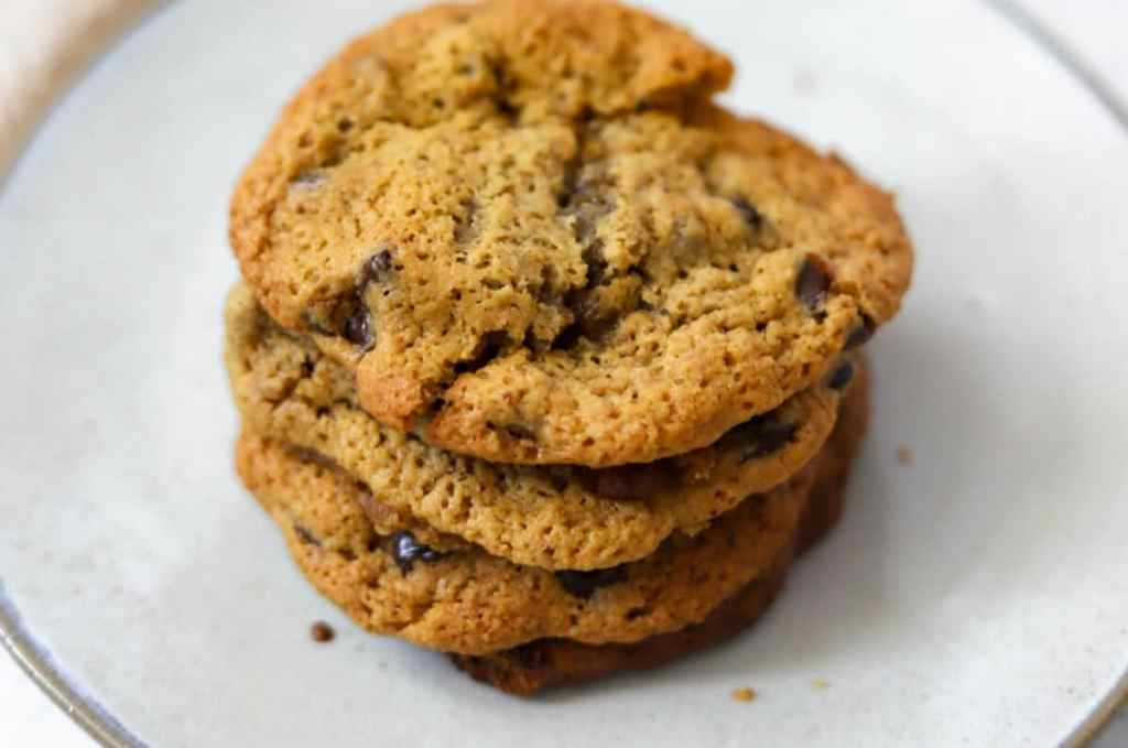 Take a bite out of one of these sweet and satisfying gluten-free chewy chocolate chip cookies!