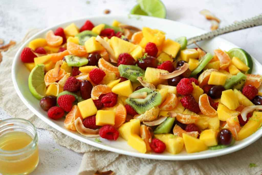 This beautiful pineapple-lime fruit salad is the perfect snack any time of the day!