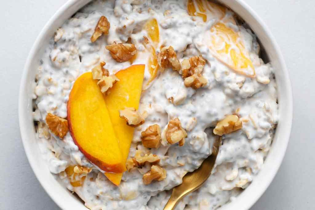 Our overnight peaches and oats are perfect for busy mornings!