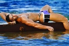 Lee Hamilton by swimming pool