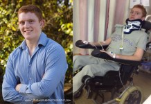 Rob Camm left tetraplegic after road accident
