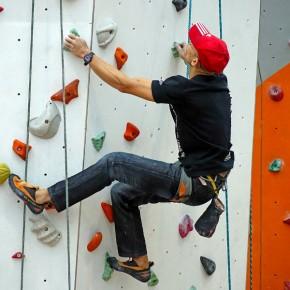 climbing wall, climber
