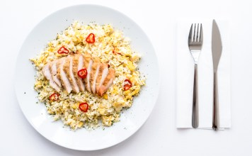 egg fried rice with chicken leftovers