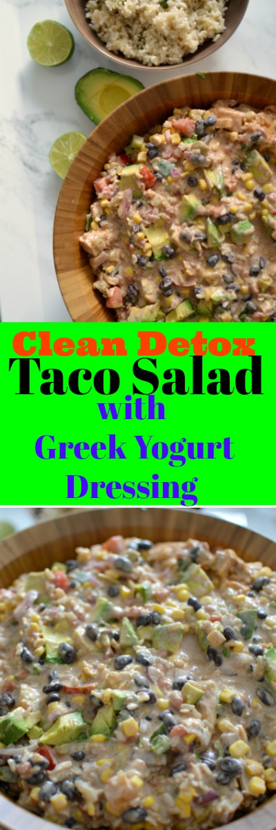 You must try this refreshing clean eating detox taco salad that is actually so darn tasty you won't believe how beneficial this salad is for your health. This is a colorful dish that will immediately become a family favorite. Using simplistic ingredients does not compromise the taste! You will be delighted with this clean taco salad.