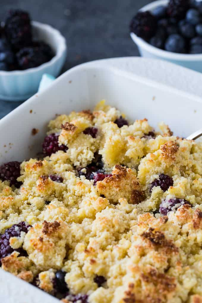 Low Carb Blackberry Blueberry Cobbler is a delicious sugar-free summer dessert.