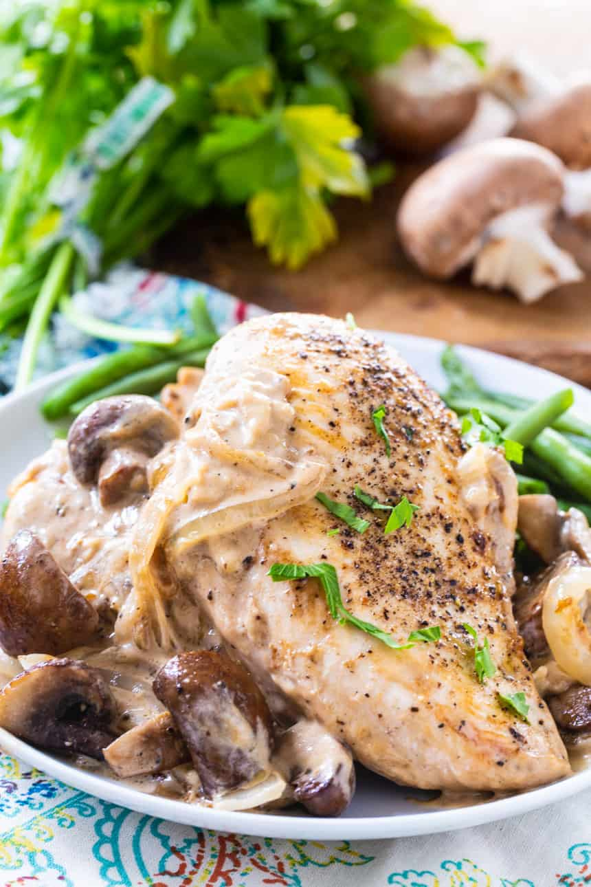 Keto Chicken with Creamy Mushroom and Onion Sauce