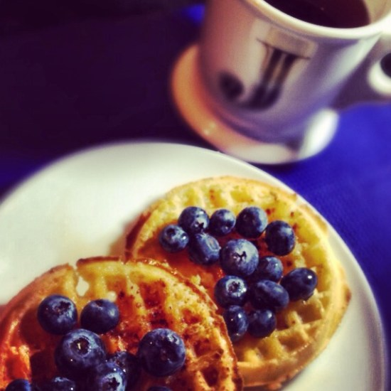 Gluten Free Blueberry Waffles with Blueberry Tea