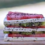 Watermelon, Feta and Kiwi Napoleons