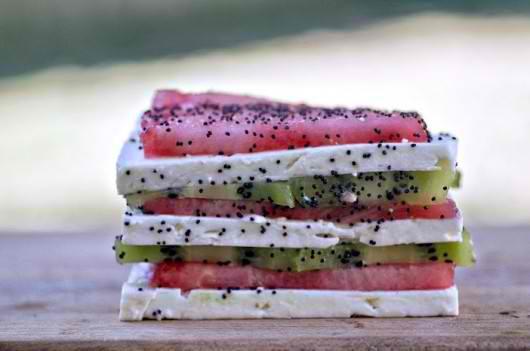 Watermelon, Feta and Kiwi Napoleons