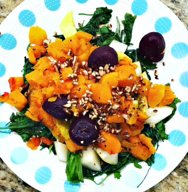 Wilted Kale, Squash, Beets, Pears & Pecans