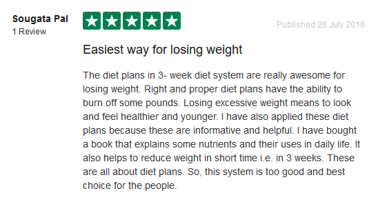 user feedback on 3 week diet