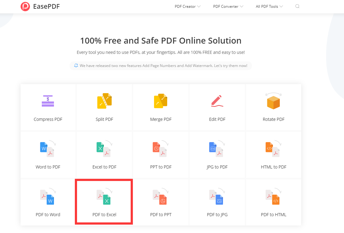 EasePDF Homepage PDF to Excel