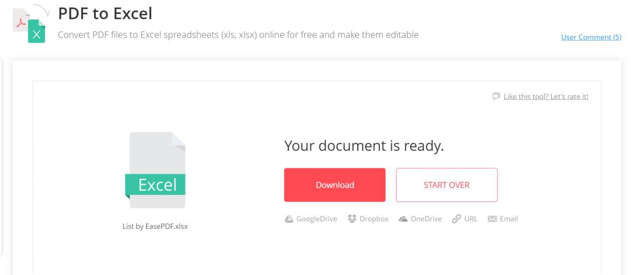 EasePDF PDF to Excel Download File