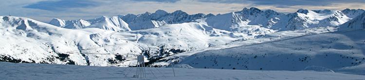 Stunning view west over the ski area towards Pas de la Casa from Soldeu, Andorra