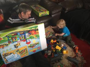 Granddad and MiniBoyGeek opening Birthday Boxes