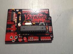 LED added, Programming header, I would also add the Switch now… I have mounted the ATmega328P in a DIP carrier