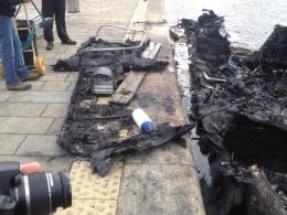 Boat fire at New Islington Marina