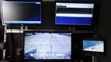 Pilot's monitor sonar & Navigation screens & PTZ Camera monitor