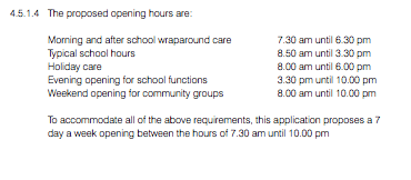 §4 e-Documents-104709-dsx-0001 - Design & Access Statement - Proposed opening hours of the school 07.30 - 22h
